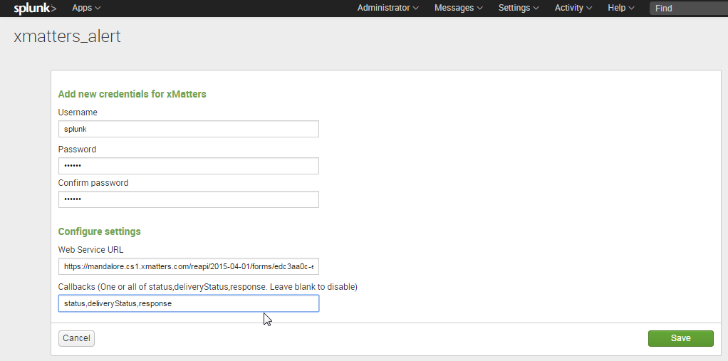 Splunk Integration v1 1 – xMatters Support